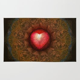 Valentine Heart Mandala Abstract (Love Overcomes the Darkness) Rug