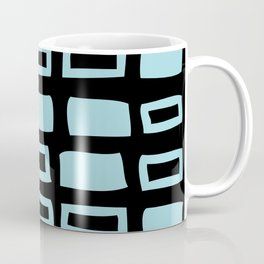 Mid Century Modern Abstract Squares Pattern 541 Black and Light Blue Coffee Mug