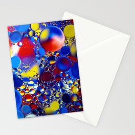 Abstract Bright Bubbles Liquid Pattern Blue Red And Yellow Stationery Cards