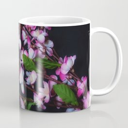 Red and White Flowers on Black Coffee Mug