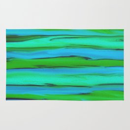 Apple Green, Seafoam, and Azure Blue Stripes Abstract Rug