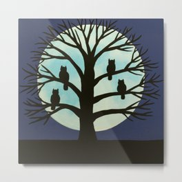Spooky Owl tree Metal Print