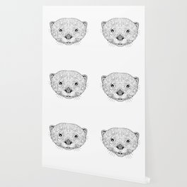 Asian Small Clawed Otter Black and White Mascot Wallpaper