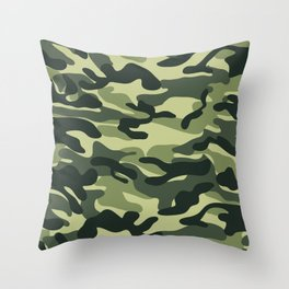 Green Military Camouflage Pattern Throw Pillow
