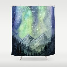 Northern Lights Magic Mountains Shower Curtain