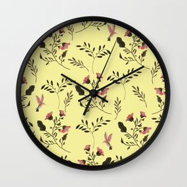 Rose Hummingbirds and Pink Flowers in Butter Yellow Floral Pattern with Pink Flowers and Bark Brown Wall Clock
