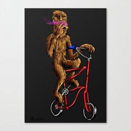 Bigfoot High-up on his Tallbike Canvas Print