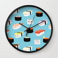 sushi Wall Clocks featuring Sushi! by Sara Showalter