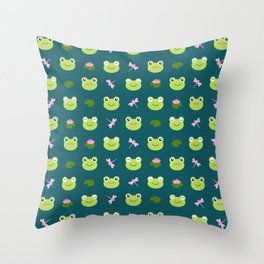 Frogs, Dragonflies and Lilypads on Teal Throw Pillow