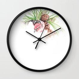 Bird in pine cone tree Wall Clock