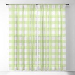 Green gingham pattern Sheer Curtain