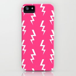 Bolts lightening bolt pattern pink and white minimal cute patterned gifts iPhone Case