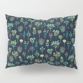 Navy Blue, Mint Green, Turquoise, Coral & Lime Floral Pattern Pillow Sham