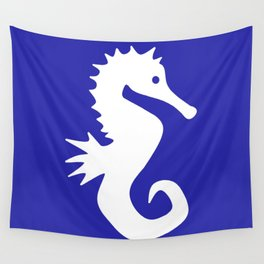 Seahorse (White & Navy Blue) Wall Tapestry