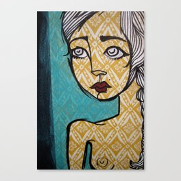 yellow floral nude Canvas Print