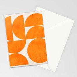 Geometric Shapes orange mid century Stationery Cards