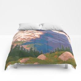 Vintage Mount Jefferson Travel Poster Comforters