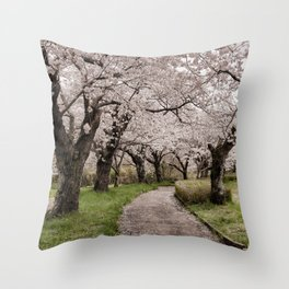 Row of cherry blossom trees Throw Pillow