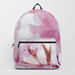 Pink Springtime Cherry Blossom Pink Petals Floral Photo Soft Texture Relaxing Monochromatic Palette Backpack