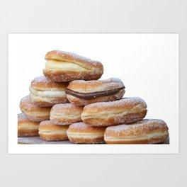 cream and chocolate donuts Art Print