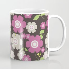 Flower graphic art: Royal gray and pink Coffee Mug