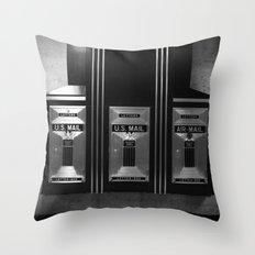 Mailboxes Black and White Original Photo Throw Pillow