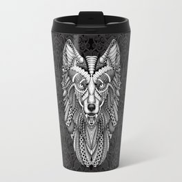 Beautiful Grey wolf aztec pattern Travel Mug