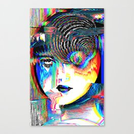 Uzumaki Glitch Spiral Canvas Print