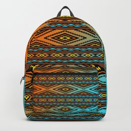 Orange and Turquoise Pendleton Backpack
