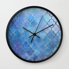 Silver & Blues Watercolor Moroccan Pattern Wall Clock