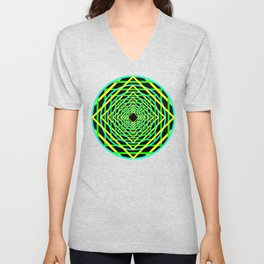 Diamonds in the Rounds Blacklight Neons Yellow Greens Unisex V-Neck