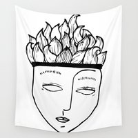 mask Wall Tapestries featuring Mask by Leandra Lilly Dreyer