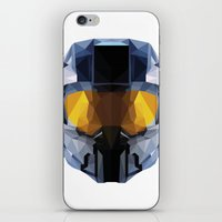 master chief iPhone & iPod Skins featuring Geometric Master Chief - Halo  by Something a Little Awesome
