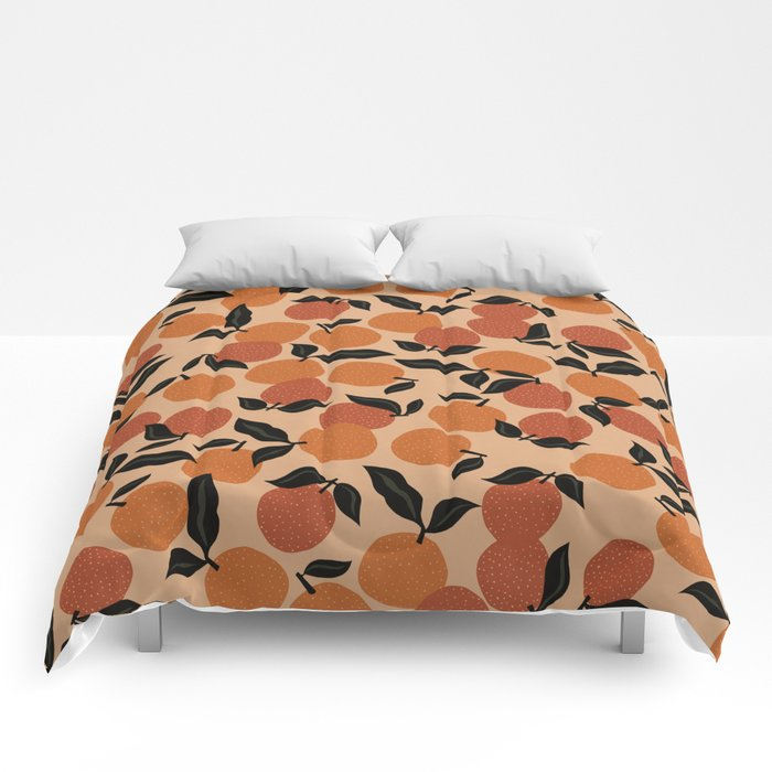 Seamless Citrus Pattern / Oranges Comforters