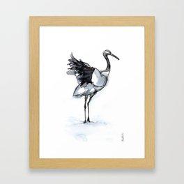 Crane, Watercolor Framed Art Print
