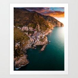Aerial above Cinque Terre, Italy Art Print