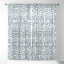 vintage moroccan - dusty blue Sheer Curtain