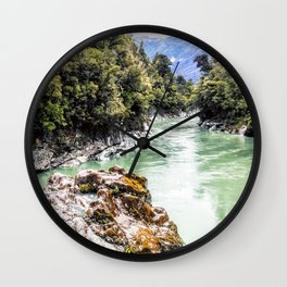 george river with ice green water abonded place Wall Clock
