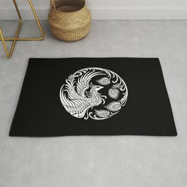 Traditional White and Black Chinese Phoenix Circle Rug