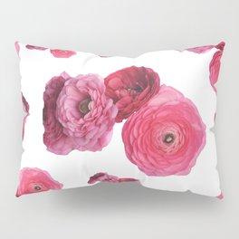 Pink White Ranunculus Pillow Sham
