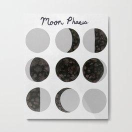 Moon Phases - White Metal Print