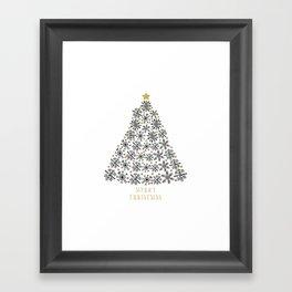 Snowflakes Tree (black gold) Framed Art Print