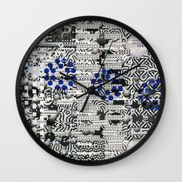 Nagging Little Virtual Elements (P/D3 Glitch Collage Studies) Wall Clock