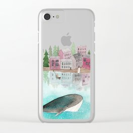 A whale is passing by Clear iPhone Case