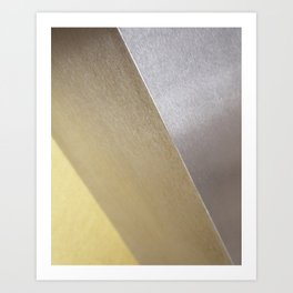 Minimalist Geometric Abstract Photography Silver Gold Industrial Cast Iron and Champaign Art Print