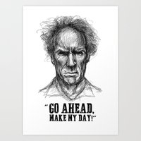 clint eastwood Art Prints featuring CLINT EASTWOOD  by Ani Dvaladze