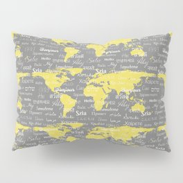 Hello World Languages Gray and Yellow Pillow Sham
