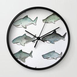 Cute Watercolor Sharks - Ocean Watercolor Art Wall Clock