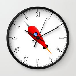 Red Space Rocket Wall Clock