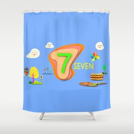 Number seven - Kids Art Shower Curtain